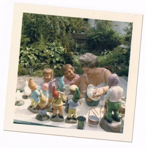 Shelley, Lorie, Auntie Vi & Gnomes - (Auntie Vi lived next door to Grandma) - GardenFairies.ca
